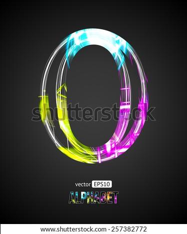 Vector Design Light Effect Alphabet. Letter O on a Black Background. - stock vector