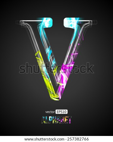 Vector Design Light Effect Alphabet. Letter V on a Black Background. - stock vector