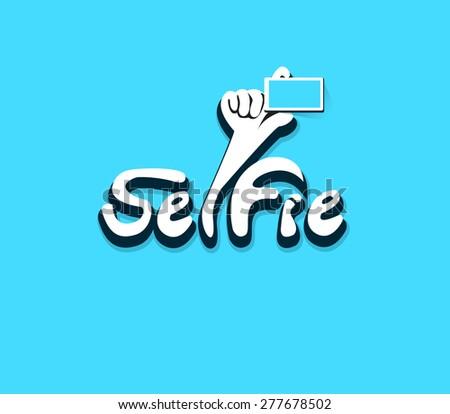 Vector design Logo,icon Taking Selfie Photo Hand holding Smartphone. - stock vector
