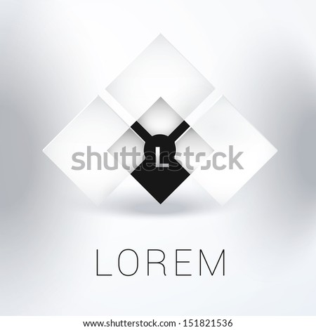 Vector design. Monochrome edition of an abstract minimal geometric 3d background element with a composition of levitating squares. Illustration for web, brochure, presentation, icon or infographics - stock vector