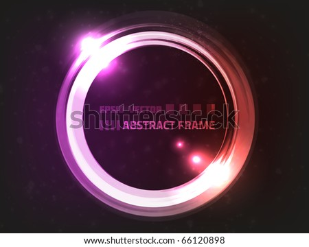 Vector design of abstract energy frame, colored red and violet, surrounded by blurry particles - stock vector