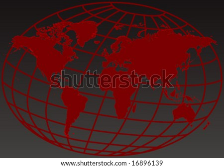 Vector design of an editable red map of the world - stock vector