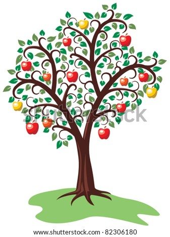 vector design of apple tree with fruits - stock vector