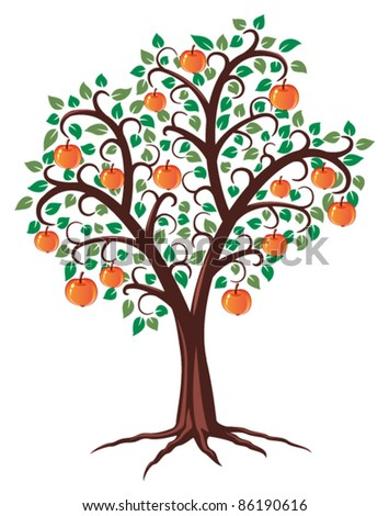 vector design of apple tree with fruits