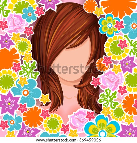 Vector design of beautiful young woman with elegant hair style - stock vector