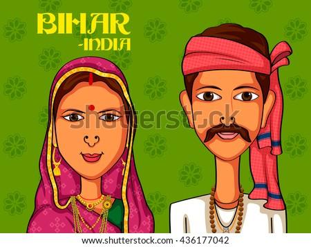 Vector design of Bihari Couple in traditional costume of Bihar, India - stock vector