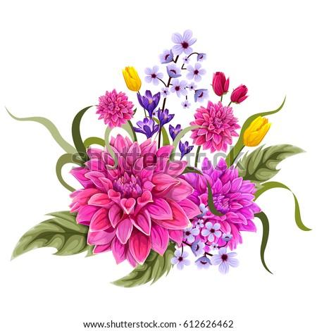 Vector design colorful vintage flower bouquet stock vector 612626462 vector design of colorful vintage flower bouquet for invitation and greeting card design altavistaventures Images