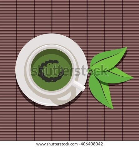 vector design of cup of green tea and green leaves - stock vector