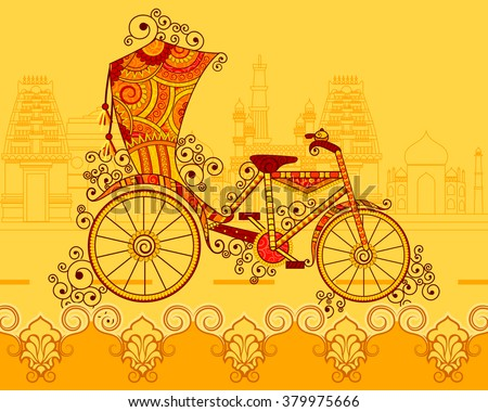 Vector design of cycle rickshaw in Indian art style - stock vector