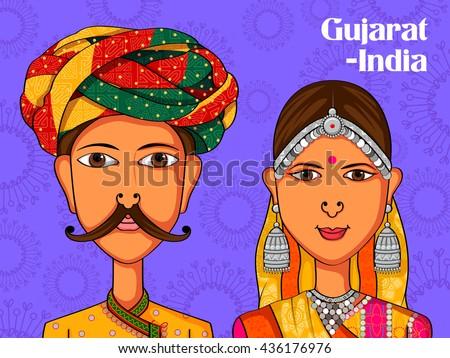 Vector design of Gujarati Couple in traditional costume of Gujarat, India - stock vector