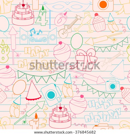 Vector design of Happy Birthday seamless pattern