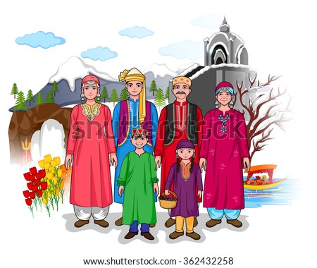 Vector Design Kashmiri Family Showing Culture Stock Vector ...