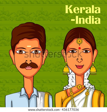 Vector design of Keralite Couple in traditional costume of Kerala, India - stock vector