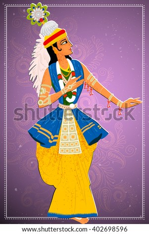 Vector design of man performing Manipuram classical dance of Manipur, India