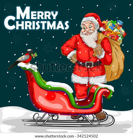 Vector design of Merry Christmas festival celebration background - stock vector