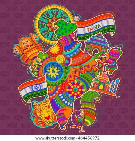 vector design monument culture india indian stock vector