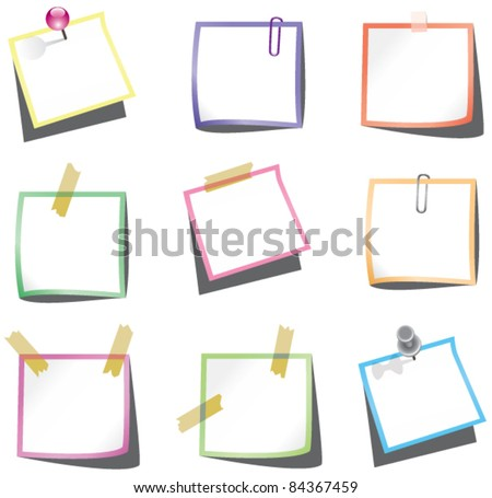 vector design of paper notes with push pin and paperclip - stock vector