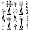 vector design of radio tower and wave broadcast symbols and icons - stock vector