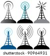 vector design of radio tower symbols - stock photo