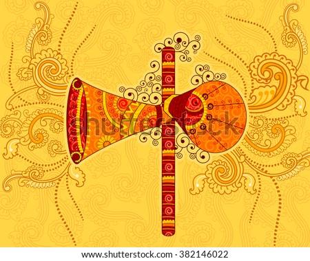 Vector design of retro megaphone in Indian art style - stock vector