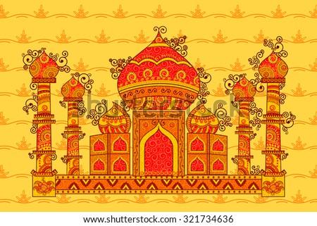 Vector design of Taj Mahal in Indian art style - stock vector