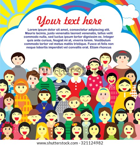 Vector design of template for text  with the image of a crowd of people of different ages in colorful clothes in the fun cartoon style - stock vector