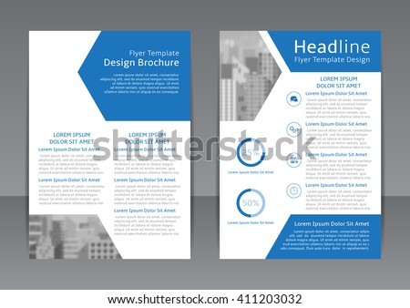 Vector design of the blue and white flyer, cover, poster and report. Vector template of brochure with place for picture for your business in A4 size. - stock vector
