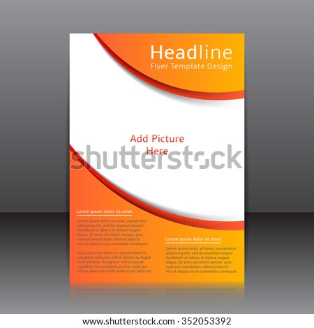Vector design of the orange flyer, cover, brochure, poster, report with place for picture. Vector template for your business in A4 size.