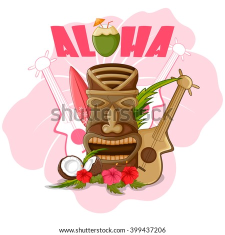 Vector design of Tiki tropical with tribal mask - stock vector