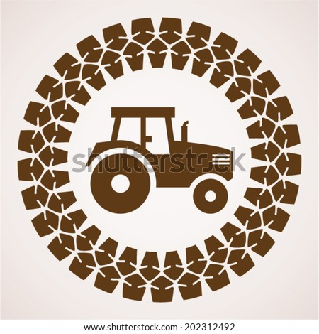 vector design of tractor tire print with symbol of tractor inside - stock vector