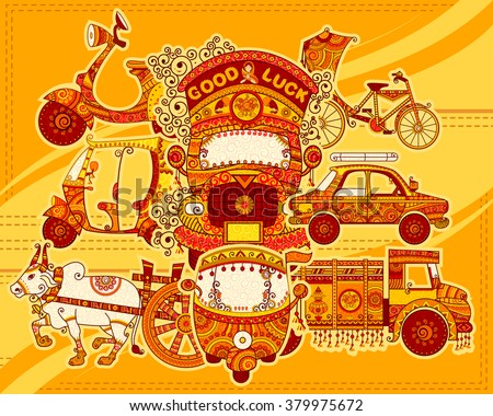 Vector design of transportation of India in Indian art style - stock vector