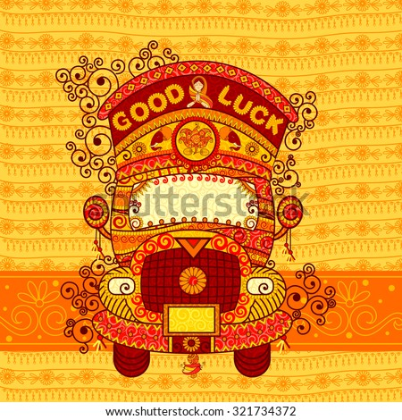 Vector design of truck of India in Indian art style - stock vector
