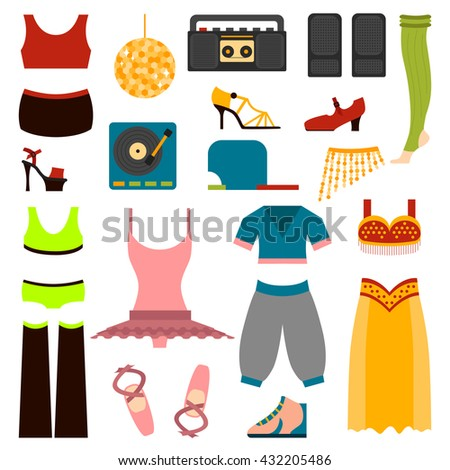 Vector design of woman performing classical dance clothes and folk dance clothes. Beautiful dancer performance style dance clothes and traditional dress lady exercise dance clothes. - stock vector