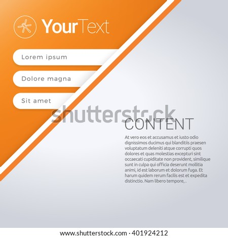 Vector design, Orange Color Edition of an Adjustable Abstract Paper Background Based List Element with Menu Field for Numbering for Web, Print, Brochure or Infographic - stock vector