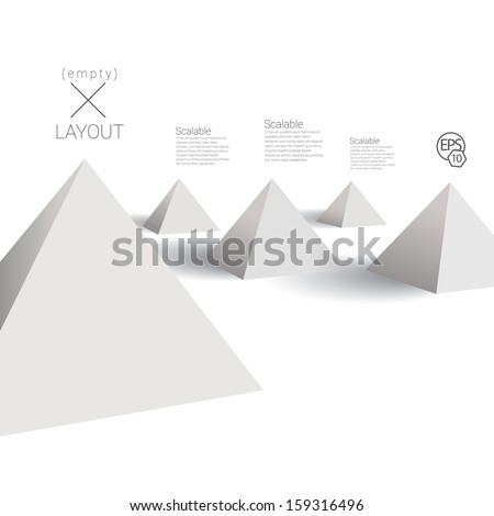 Vector design. Scalable stylized abstract geometric  3d minimal illustration of  pyramids in an empty  white space composition for info graphics, for website, brochure, infographics & universal use - stock vector