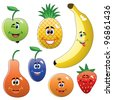 vector design set of colorful funny fruits - stock vector