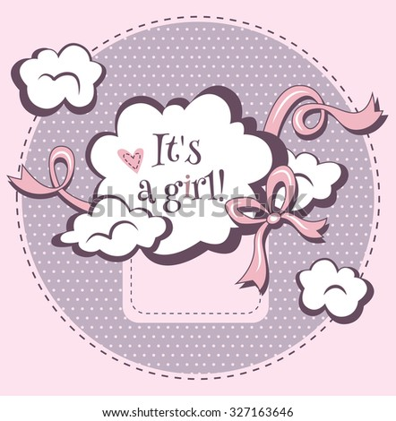 Vector design template for baby shower.It's a girl