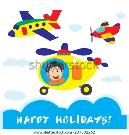 Vector design template for greeting card and other printed products or set of vector objects  with the image of the sky, two airplanes and helicopter with pilot man. - stock vector