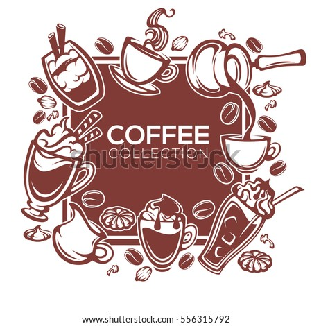 vector design template for your cafe or restaurant with coffee images