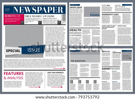 Vector Design Template Newspaper Newspaper Page Stock Vector