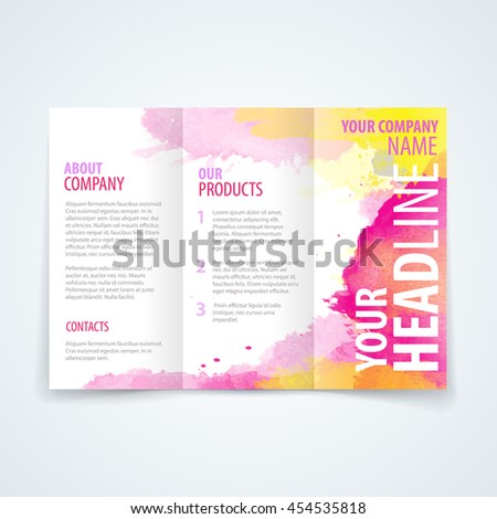 Vector Design Template Trifold Brochure Colorful Stock Vector - Template for trifold brochure