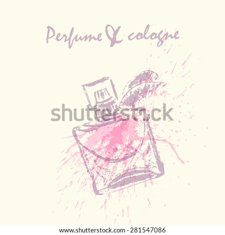 Vector design template. Rough sketch of perfume bottle in pastel colors on neutral background with cute watercolor splash.  - stock vector