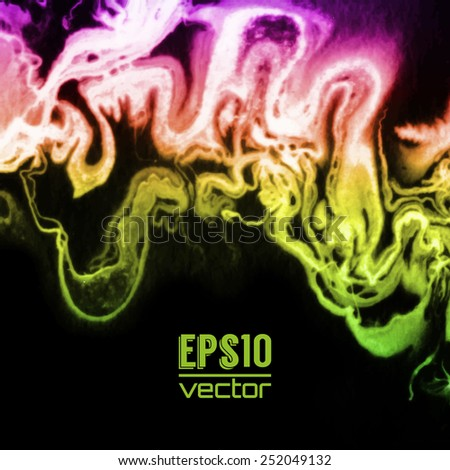 Vector design template with abstract green and red gradient  paint strokes, splashes and swirls on black background  for cards, banners, flyers - stock vector