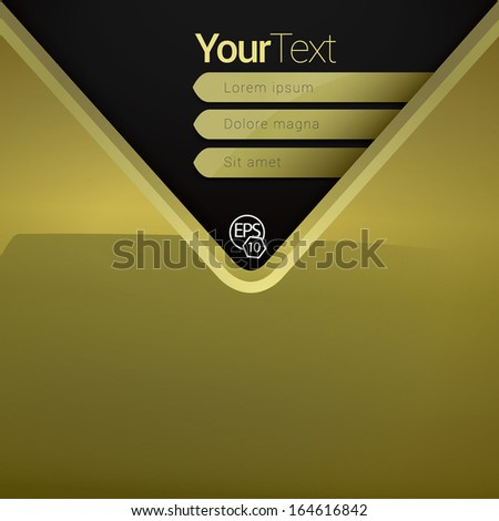 Vector design. V shape, Gold & shiny edition of a scalable abstract geometric flat gui for placing objects, images, icons, photos & content. For print, for desktop, application or for universal use. - stock vector