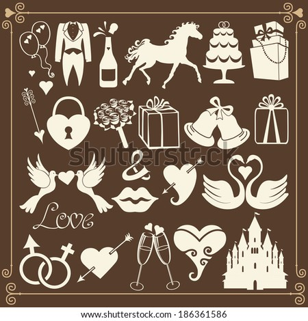 Vector Design wedding icons for Web and Mobile.Set of  wedding items in retro style - stock vector