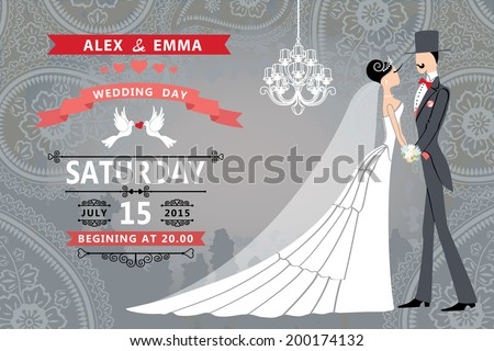 Vector Design wedding invitation with groom, bride and wedding items.Vintage grunge background. Vector illustration,greeting card,invitation,save the date. - stock vector
