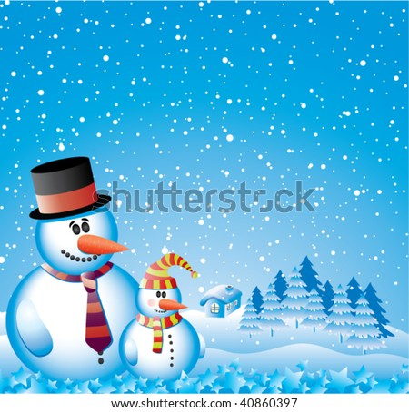 vector design with cute two snowmen with smiling faces - stock vector