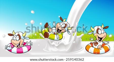 vector design with funny cow swimming in milk splash - stock vector