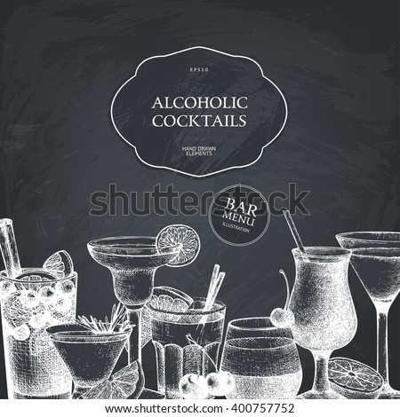 Vector design with hand drawn alcoholic cocktails illustration. Vintage beverages sketch background. Retro drinks template for menu design isolated on chalkboard - stock vector