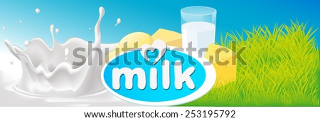 vector design with milk splash, dairy product and green grass - illustration - stock vector